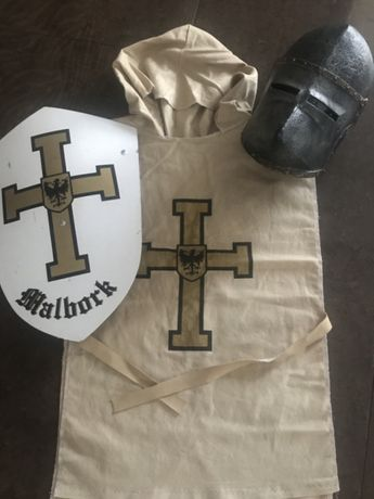 Strój przebranie rycerz Malbork karnawał zestaw tarcza Chełm szata