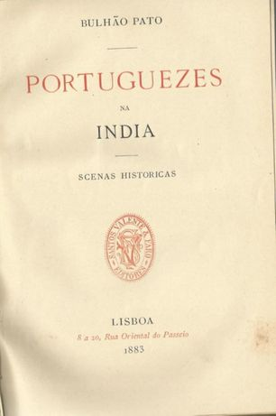 BULHÃO PATO | Portuguezes na India 1883 Raro