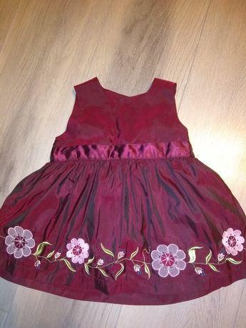 Sukienka dla dziewczynki kolor bordowy, elegancka, na uroczystości