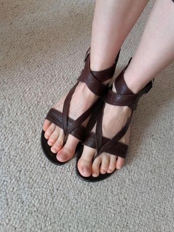 Lasocki brązowe sandały damskie ze skóry naturalnej 40 26 cm japonki