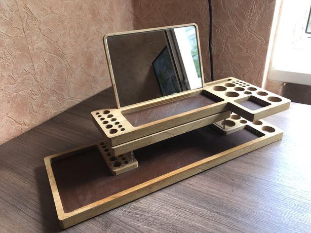 деревянный органайзер-подставка для косметики, кисточек для макияжа