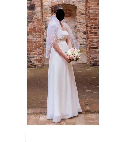 38-40 ślubna szyta na miarę na wysoką 177cm + 5cm obcas 180(182)lub175