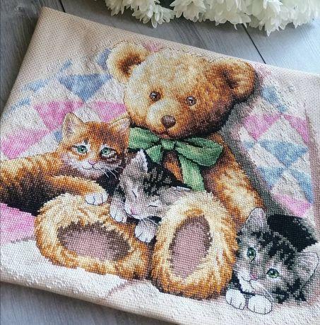 Вышивка крестом - Мишки и котята