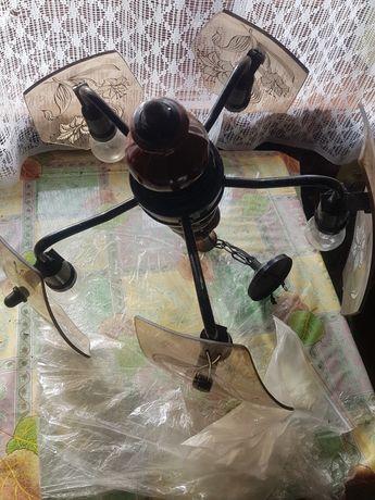 Żyrandol mosiężny malowany żarówki e-27
