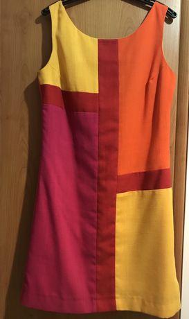 Kolorowa lniana sukienka na ramiączkach na lato