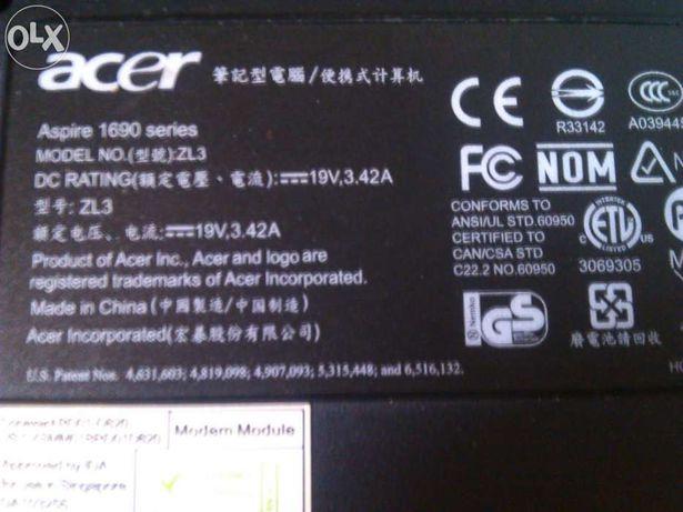 Portátil Acer aspire 1690 series para peças
