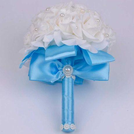 Komunijny Ślubny bukiet z róż Piękny prezent satyna Ślub Komunia Biały