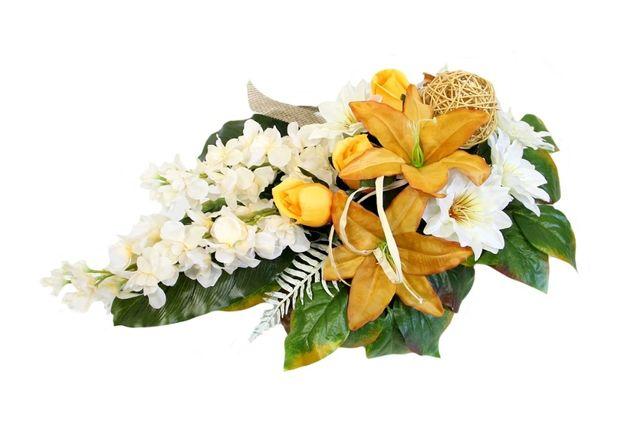 Pojedyncza WIĄZANKA STROIK łezka jasna JESIENNA dużo kwiatów
