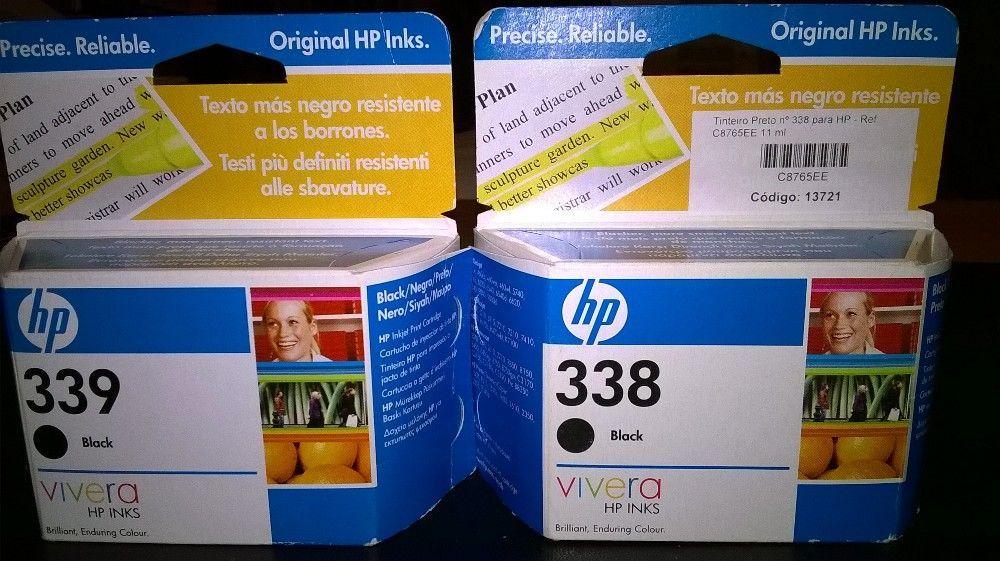 2 tinteiros HP Black 338 e 339 - nas embalagens originais (seladas)