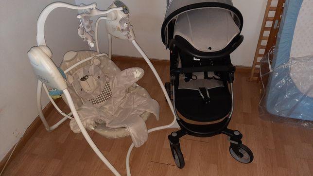 Carrinho bebé, ovo,cama ,colchão, baloiço, andarilho