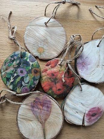 Krążki drewniane ozdobne handmade