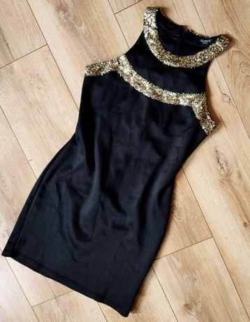 Sukienka mała czarna cekiny Sisters Point S dopasowana glamour