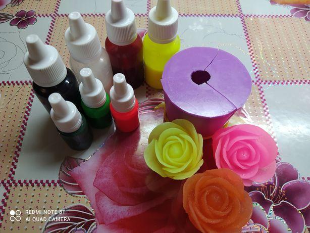 Форма для мыла 3D роза и пигменты
