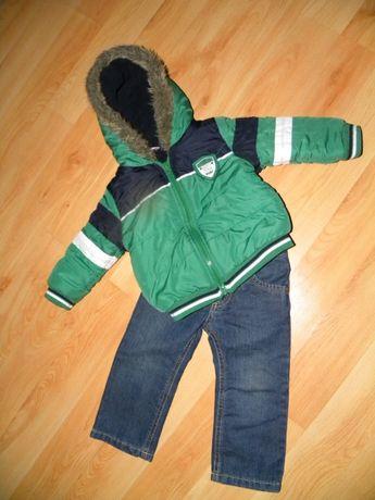 Kurtka z polarem i spodnie ocieplane r.80/86, zestaw,