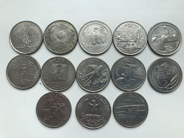 Квотеры четвертаки США 25 центов