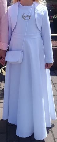 Sukienka komunijna, rozm. 140cm, torebka, narzutka