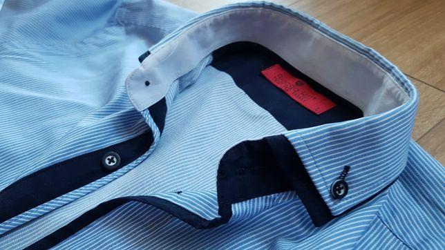 Koszula męska L 178-182 kołnierz 42 slim modna paski niebieska
