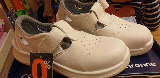 Buty ochronne białe z kompozytowym podnoskiem r.38