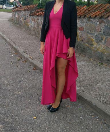 Sukienka długa asymetryczna L fuksja