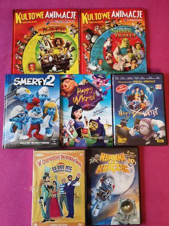 7szt bajki DVD z książec Shrek Madagaskar Happy Wkręt Smurfy2 bajka 3D