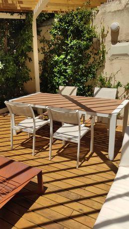 Conjunto Mesa exterior alumínio + 4 cadeiras