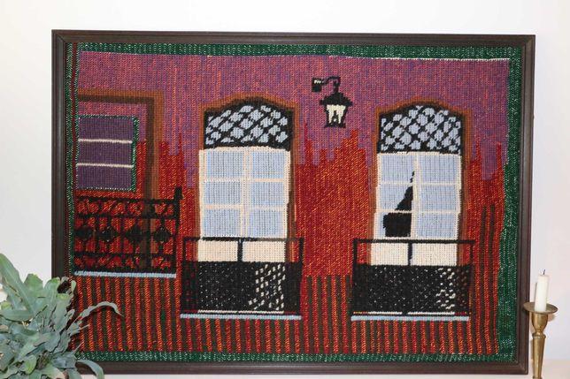 Quadro em talagarça bordado em lã - Vintage