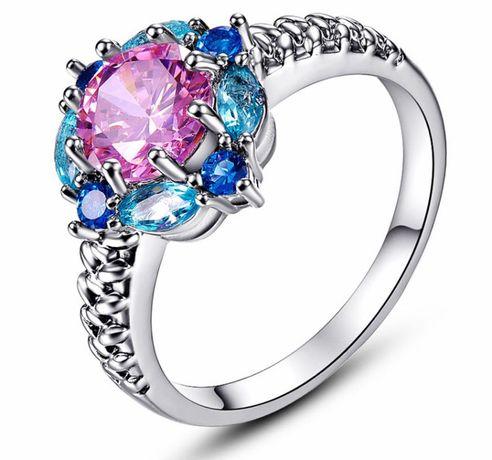 NOWY śliczny pierścionek 3 KOLORY: kobalt błękit róż r.27/28/29