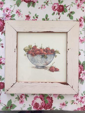 Obrazek dekoracja kuchni Shabby retro vintage truskawki