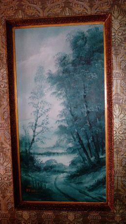 Quadro / Pintura / Óleo sobre platex A.Pereira 53x28cm