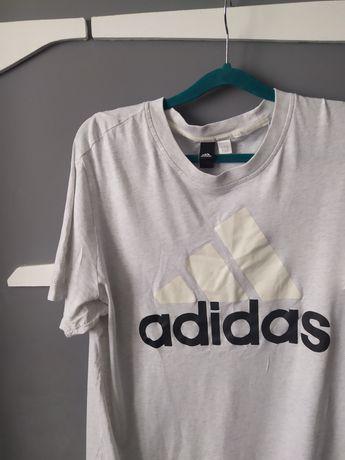 Светлосерая мужская футболка Adidas с большим логотипом