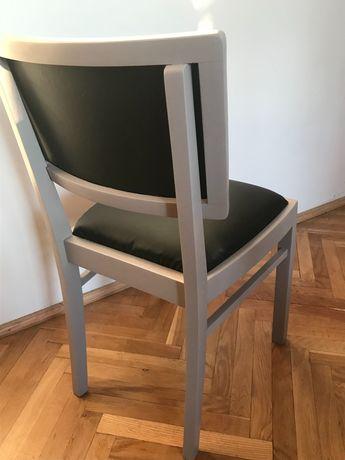 Krzesła drewniane, PRL, po renowacji, szare, 2 szt.