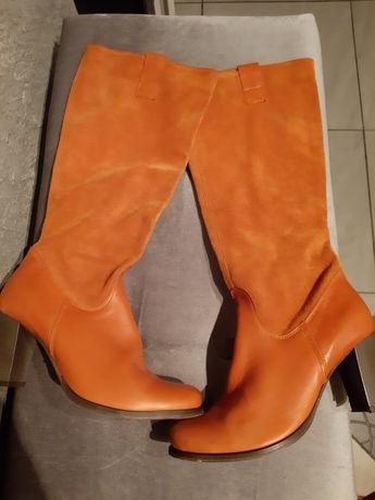 Kozaki damskie 38 GOPOL  pomarańczowe  zamszowe skóra