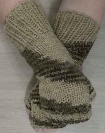 Rękawiczki bez palców MITENKI beże, brązy długie!!