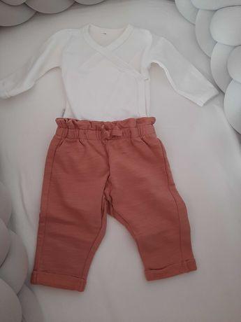 Spodnie niemowlęce Newbie roz. 62 + kopertowe body