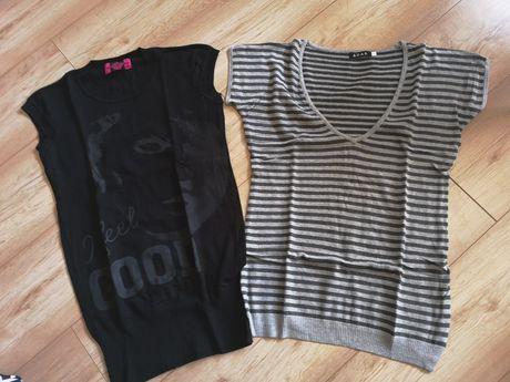 Bluzka sweterek krótki rękaw damska L/XL paski czarna