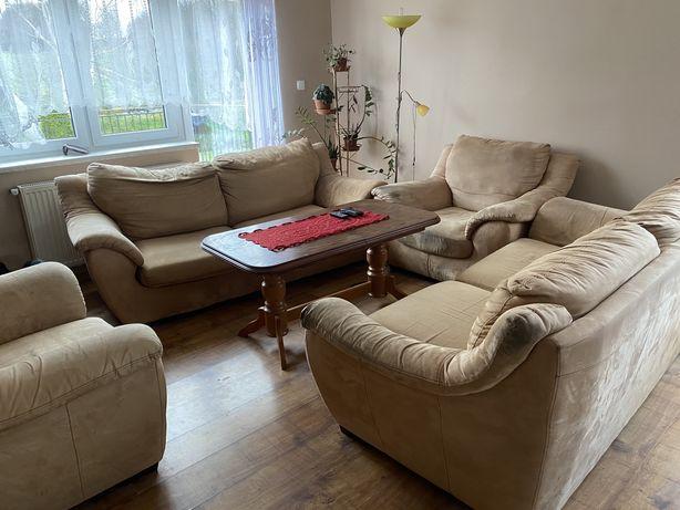 dwie sofy z dwoma fotelami, sofa, fotel, meble do salonu
