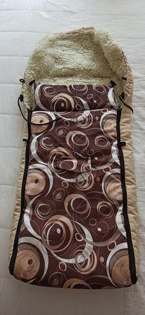Ocieplacz do wózka wełna naturalna 110cm Śpiworek