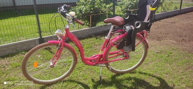 Rower miejski Le grand 28 cali + fotelik rowerowy dziecięcy