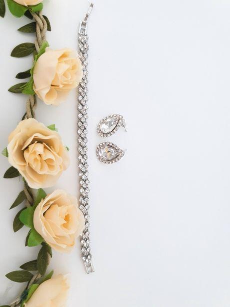 Kolczyki łezki bransoleta z kryształkami cyrkoniami eleganckie ślubne