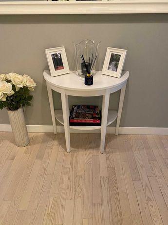 Konsola, stolik, szafka, półokrągła, biała z półką