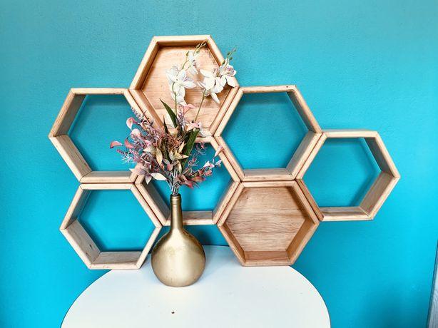 Heksagon drewniany sześcian, półka na kwiaty  dekoracje do domu