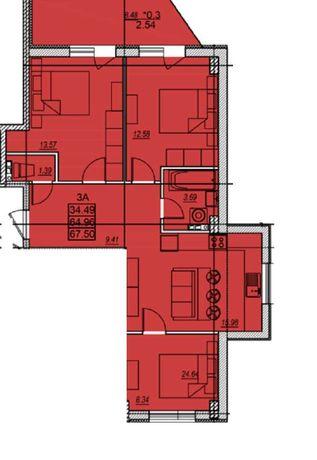 Продам трехкомнатную квартиру 67 кв.м.