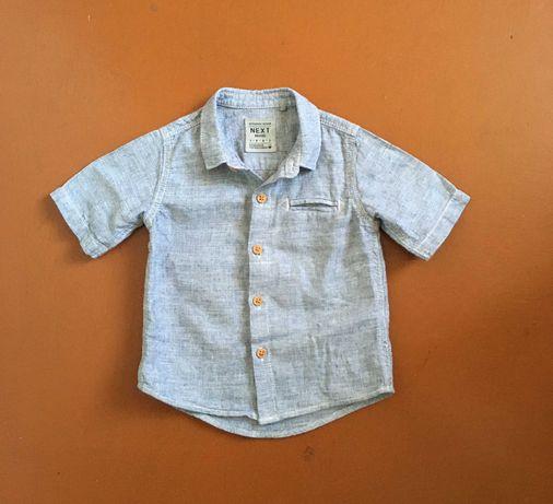 Рубашка сорочка на мальчика с коротким рукавом серая Next 9-12мес