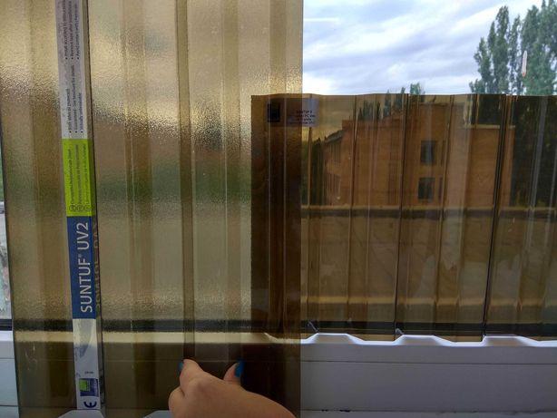 Прозрачный/бронзовый шифер поликарбонат Suntuf UV2 0.8 мм колотый лёд