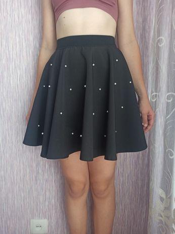 Школьная юбка на девочку ( солнце клёш) черная