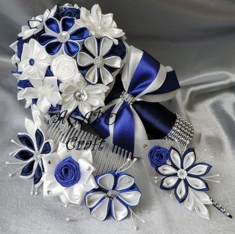 Bukiet ślubny butonierka ozdoba trwały ze wstążek