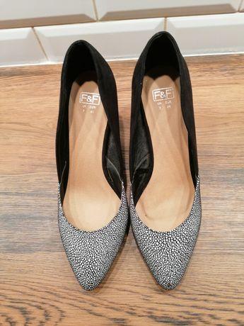 Buty szpilki pantofle F&F biało czarne rozmiar 41
