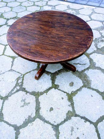 Stół okrągły niski wys 48 cm drewniany masywny