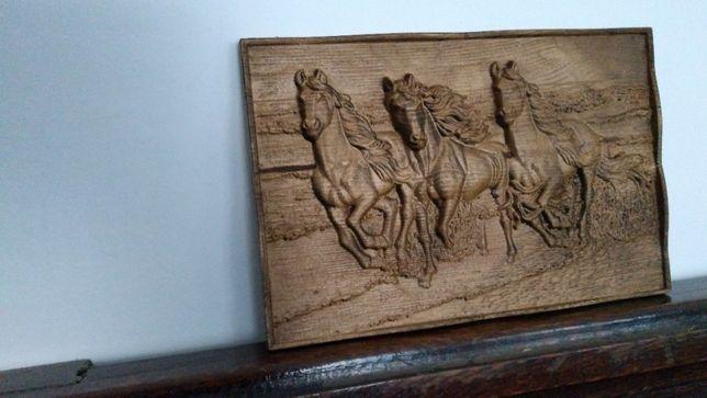 Konie w Galopie Obraz Płaskorzeźba Unikat Prezent Pamiątka