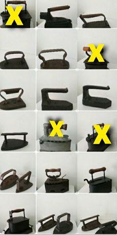 Lote 17 ferros de engomar carvão entre outros raros
